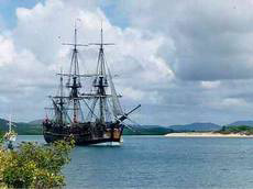 Endeavour replica in Cooktown harbour (image)