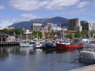 Hobart city centre and Mt Wellington from Marina (image)